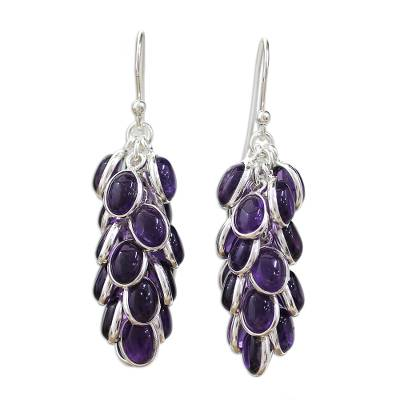 Sterling Silver and Amethyst Earrings Indian Jewelry