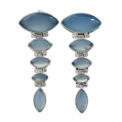 Sterling Silver and Chalcedony Earrings from India Jewelry