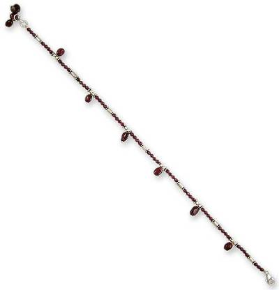 Unique Garnet and Sterling Silver Beaded Red Anklet
