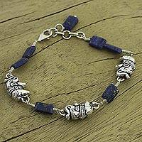 Lapis lazuli charm bracelet, 'Midnight Elephants' - India Elephant Jewelry Lapis and Silver Bracelet