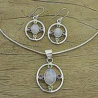 Rainbow moonstone and amethyst jewelry set, 'Orbit' - Rainbow Moonstone Amethyst and Peridot jewellery Set