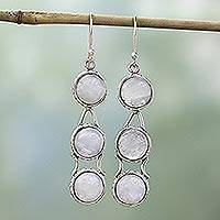 Moonstone dangle earrings, Icy Dew - Moonstone Earrings from India Sterling Silver Jewelry