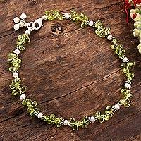 Pearl and peridot anklet, 'Fresh Breeze' - Pearl and peridot anklet