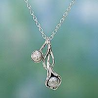 Pearl flower necklace, 'Calla Lily' - Sterling Silver Pearl Necklace from India Bridal Jewelry