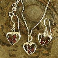 Garnet jewelry set, 'Heart Sparkles' - Hand Made Sterling Silver and Garnet Heart Jewelry Set