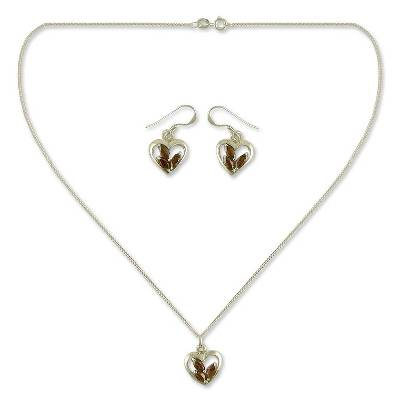 Hand Made Sterling Silver and Garnet Heart Jewelry Set