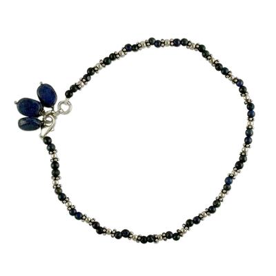 Lapis lazuli beaded anklet