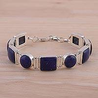 Lapis lazuli link bracelet, 'Connected' - Sterling Silver Lapis Lazuli Bracelet Indian Jewelry