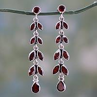Garnet floral earrings, 'Crimson Leaves' - Handcrafted Dangle Garnet and Sterling Silver Earrings.