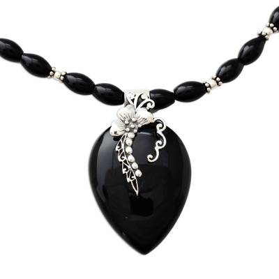 Fair Trade Sterling Silver and Onyx Necklace