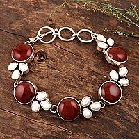 Pearl and carnelian flower bracelet, 'Glow' (India)