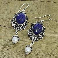Pearl and lapis lazuli dangle earrings, 'Ethereal' - Lapis Lazuli and Pearl Earrings in Sterling Silver