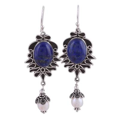 Lapis Lazuli and Pearl Earrings in Sterling Silver