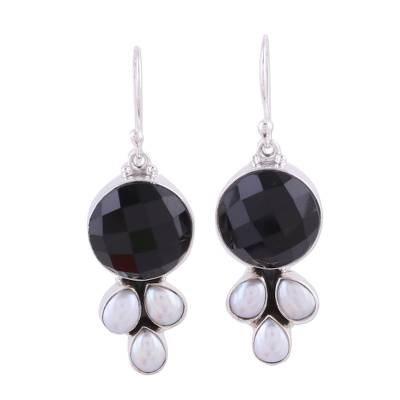 Sterling Silver Pearl and Onyx Earrings from India