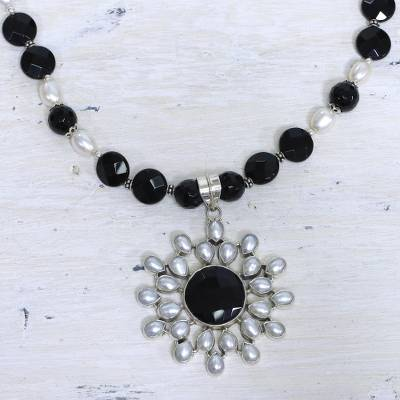 Pearl and onyx flower necklace, 'Facets' - Artisan Crafted Sterling Silver Pearl and Onyx Necklace