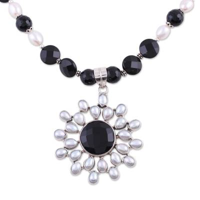 Artisan Crafted Sterling Silver Pearl and Onyx Necklace