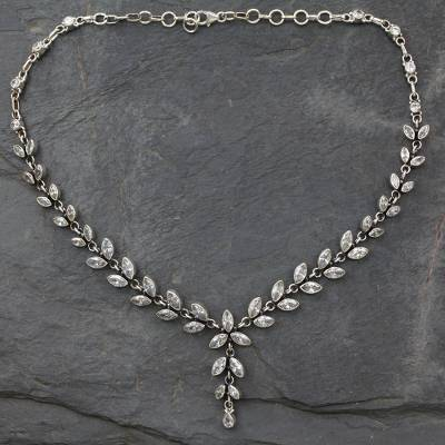 Quartz Y-necklace, 'White Daffodils' - Quartz Y Necklace in Sterling Silver from India with 50 Cts