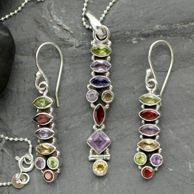 Amethyst and citrine jewelry set, Totem Lights