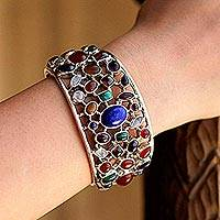Multi-gemstone cuff bracelet, 'Shimmering Confetti' - Gemstone Cuff Bracelet in Sterling Silver from India