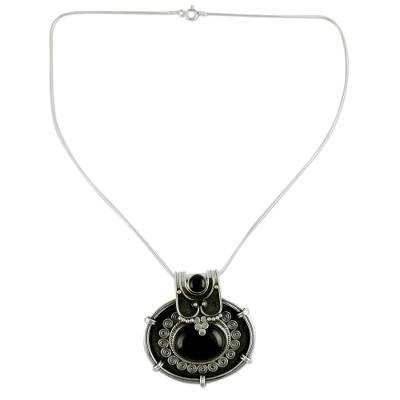 Onyx Pendant Necklace in Oxidized Sterling Silver from India