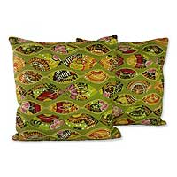 Cushion covers, 'Meeting Eyes' (pair) - Handmade Polyester Cushion Covers from India (Pair)