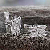 Sterling silver cufflinks, 'Magic Labyrinth' - Sterling silver cufflinks