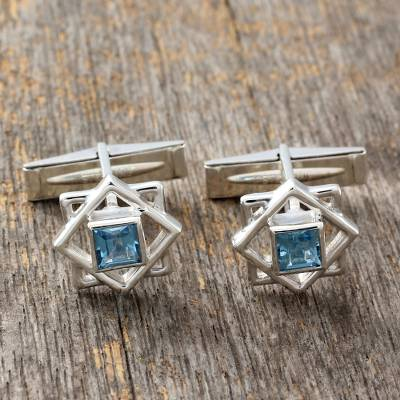 Blue topaz cufflinks, 'Starstruck' - Artisan Crafted Sterling Silver Blue Topaz Cufflinks