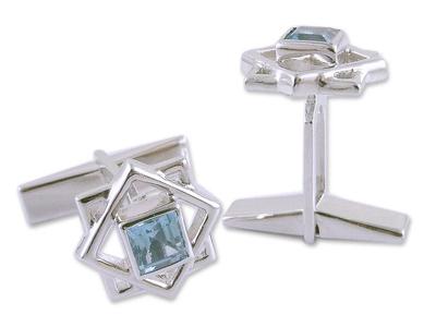 Artisan Crafted Sterling Silver Blue Topaz Cufflinks