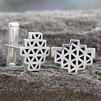 Sterling silver cufflinks, 'Geodesic' - Sterling silver cufflinks