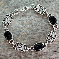 Onyx floral bracelet, 'Summer Night' - Artist Sterling Silver and Onyx Bracelet India Jewelry