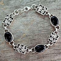 Onyx floral bracelet, 'Summer Night'