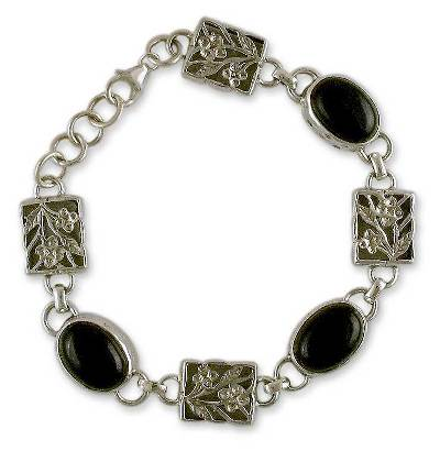 Artist Sterling Silver and Onyx Bracelet India Jewelry