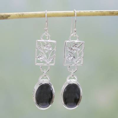 Onyx flower earrings, 'Summer Night' - Hand Made Floral Onyx and Silver Dangle Earrings