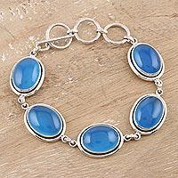 Chalcedony link bracelet,