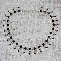 Onyx waterfall necklace, 'Gratitude' - Sterling Silver Waterfall Onyx Necklace