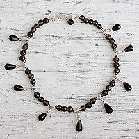 Smoky quartz anklet, 'My Muse' - Smoky quartz anklet