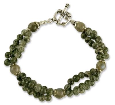 Labradorite and tourmalinated quartz beaded bracelet