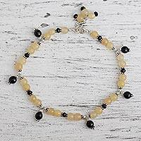 Aventurine and onyx anklet, 'My Muse' - Aventurine and onyx anklet