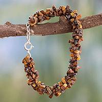 Tiger's eye beaded bracelet, 'Golden Gaze' - Tigers Eye Beaded Bracelet from Fair Trade Artisan Jewelry