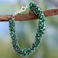 Malachite beaded bracelet, 'Magic Forest'