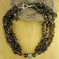 Smoky quartz beaded necklace,
