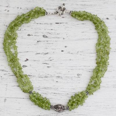 Peridot beaded necklace, 'Natural Sophistication' - Peridot beaded necklace