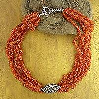 Carnelian beaded necklace, 'Natural Sophistication' - Carnelian Beaded Necklace from India