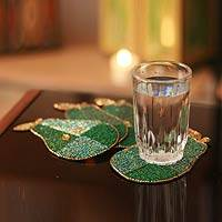 Beaded coasters, 'Mint Pear' (set of 4) - Hand Beaded Coasters from India (Set of 4)