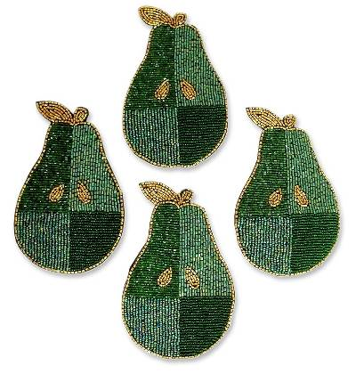 Hand Beaded Coasters from India (Set of 4)