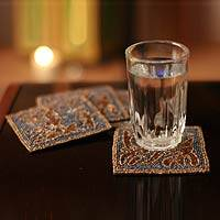 Beaded coasters, 'Magic Fern' (set of 4) - Artisan Crafted Hand Beaded Coasters Barware (Set of 4)