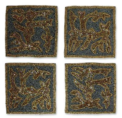 Artisan Crafted Hand Beaded Coasters Barware (Set of 4)
