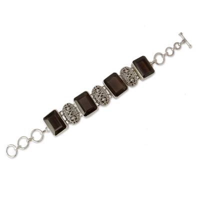 India Sterling Silver Wristband Bracelet with Smoky Quartz