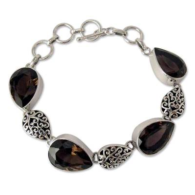 Indian Sterling Silver and Smoky Quartz Bracelet