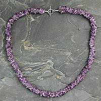 Amethyst long beaded necklace, 'Lovely Lilacs' - Handmade Amethyst Necklace Beaded Jewelry